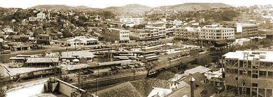 Vista do centro do Município, na década de 40, em franco crescimento