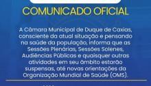 Câmara suspende atividades devido ao Coronavírus